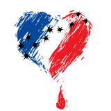 Bleeding heart  colors of the French flag. Wounded with traces of bullets, bleeding heart in the colors of the French flag, as a symbol of national mourning Royalty Free Stock Image