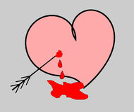 Bleeding heart shot with an arrow on the gray background-vectro illustration Stock Photo