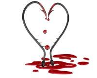 Bleeding heart symbol from fish hooks Royalty Free Stock Image