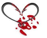 Bleeding heart symbol from fish hooks Stock Photography