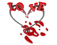Bleeding heart symbol from fish hooks. Bleeding heart symbol from fishing hooks on a white surface and word LOVE. The three-dimensional illustration. Isolated Royalty Free Stock Images