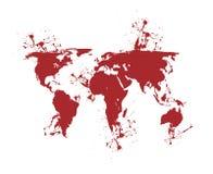 Bleeding world map Stock Photos