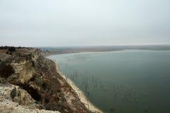 Blefes do arenito de Cedar Bluff Reservoir imagens de stock
