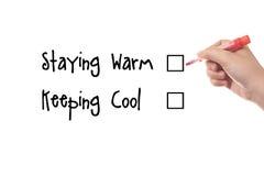Bleiben warm und kühl halten Stockfoto