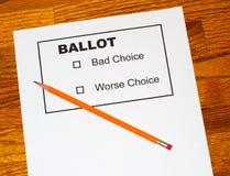 Bleistift auf gefälschtem Stimmzettel Lizenzfreie Stockfotos