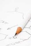 Bleistift auf Papier mit chemischer Formel Stockbild
