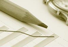 Bleistift auf positivem Einkommen-Diagramm (Y) Lizenzfreie Stockfotos