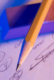 Bleistift auf Radiergummi Lizenzfreie Stockbilder