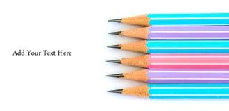 Bleistift auf weißem Hintergrund Stockbilder