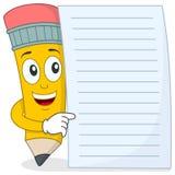 Bleistift-Charakter mit leerem Papier Stockbild