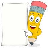 Bleistift-Charakter mit weißem leerem Papier Lizenzfreie Stockfotos