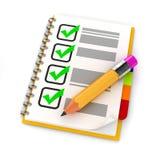 Bleistift 3d und Check-Liste Lizenzfreie Stockfotos