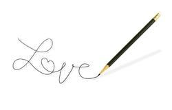 Bleistift, der das Wort schreibt Stockbild