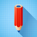 Bleistift des Vektors 3d auf Planhintergrund Lizenzfreies Stockbild