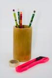 Bleistift in einem Bambus Lizenzfreie Stockbilder