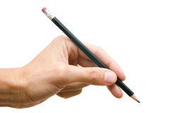 Bleistift in einer Hand Lizenzfreie Stockbilder