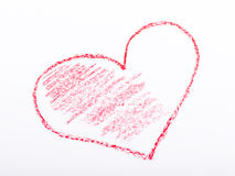 Bleistift gezeichnetes Herz mit roter Farbe Lizenzfreie Stockbilder