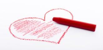 Bleistift gezeichnetes Herz mit roter Farbe Stockfotos