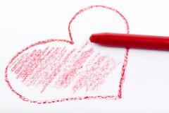 Bleistift gezeichnetes Herz mit roter Farbe Stockbilder