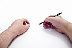 Bleistift-Hände Stockfoto