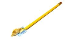Bleistift im Bleistiftspitzer Stockfotografie