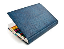 Bleistift im Tagebuch Stockfoto