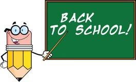 Bleistift-Lehrer Character With ein Zeiger in Front Of Chalkboard With Text Lizenzfreie Stockbilder