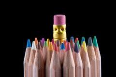 Bleistift mit dem Gummikopf, der heraus steht Lizenzfreies Stockbild