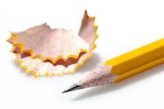 Bleistift mit dem Rasieren Stockfotos