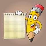 Bleistift mit einem Blatt des Notizbuches Lizenzfreie Stockbilder