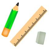 Bleistift mit Lineal Stockfoto
