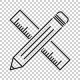 Bleistift mit Machthaberikone Machthabermeter-Vektorillustration Lizenzfreie Stockbilder