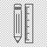 Bleistift mit Machthaberikone Machthabermeter-Vektorillustration Lizenzfreie Stockfotos