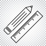Bleistift mit Machthaberikone Machthabermeter-Vektorillustration einfach Stockfotografie