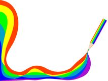Bleistift mit Regenbogen Stockfotos