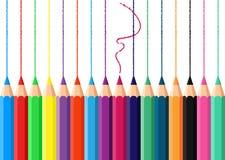 Bleistift mit sechzehn Vektoren auf weißem Hintergrund Stockfotografie
