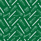 Bleistift Nahtloses Muster mit Kunstwerkzeugen lizenzfreie abbildung