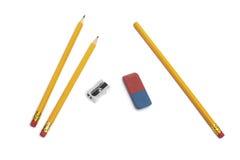 Bleistift, Radiergummigummi, Bleistiftspitzer Stockbild