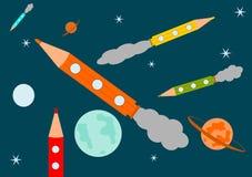 Bleistift-Rakete im Raum. stock abbildung