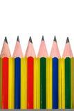 Bleistift sechs auf dem weißen Hintergrund getrennt Stockbild