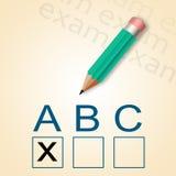 Bleistift und ABC-Test Stockfotografie