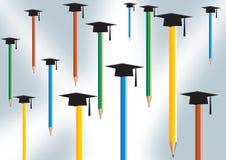 Bleistift- und Absolventschutzkappe stock abbildung