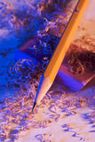 Bleistift und Bleistift-Schnitzel Lizenzfreie Stockbilder