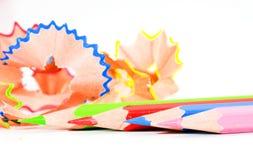 Bleistift und Bleistiftschnitzel Lizenzfreie Stockfotos