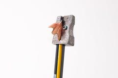Bleistift und Bleistiftspitzer Lizenzfreies Stockbild