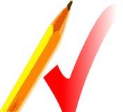 Bleistift und Check Stockfotografie