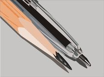 Bleistift und Feder Stockfoto