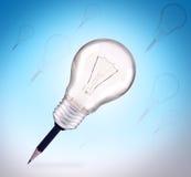 Bleistift und Glühlampe für die Idee kreativ vektor abbildung