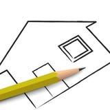 Bleistift- und Hausplan Stockfotos