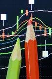 Bleistift- und Kerzenständerdiagramm Stockfotografie